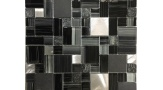 Metro Pattern Glass, Aluminium and Stone Mosaic