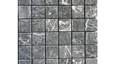 48mm x 48mm Field Mosaic in Tumbled Nero Marquina