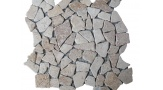 Travertine Noce Random Interlocking Field Mosaic